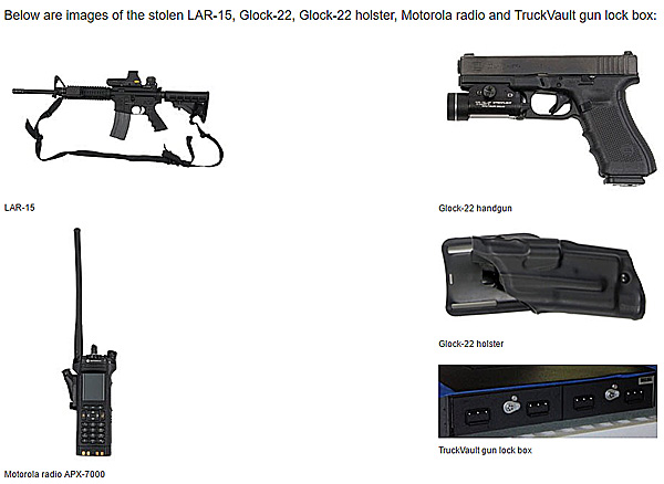 FBI weapons and equipment stolen from a federal vehicle on July 10, 2016, less than two miles from the scene of the Seth Rich shooting, which took place just hours later (Photo: FBI)
