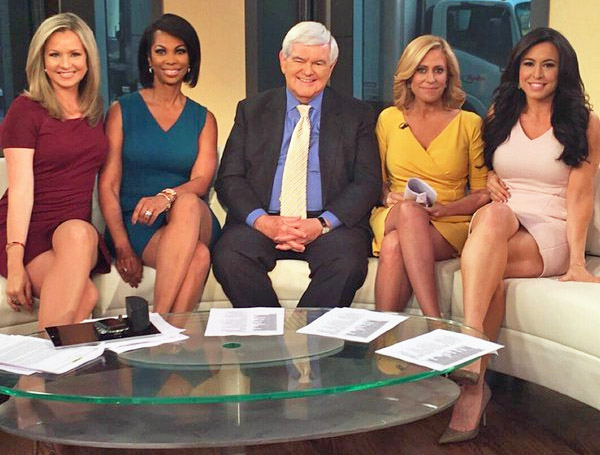 Former House Speaker Newt Gingrich joins the leggy ladies of Fox Newsu0027