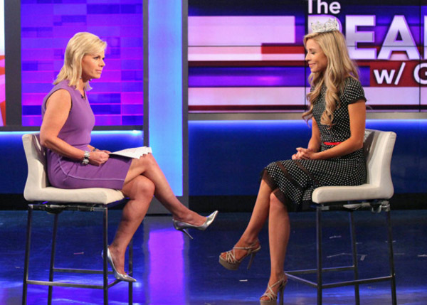"Former Fox host Gretchen Carlson interviews Miss America on ""The Real Story with Gretchen Carlson"""