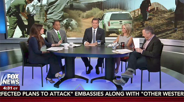 "Twitter noticed when Kimberly Guilfoyle (far left) wore pants on ""The Five"" in mid-April"