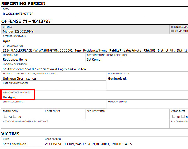 Metropolitan Police Department report indicates DNC staffer Seth Rich was shot with a handgun on the morning of July 10, 2016