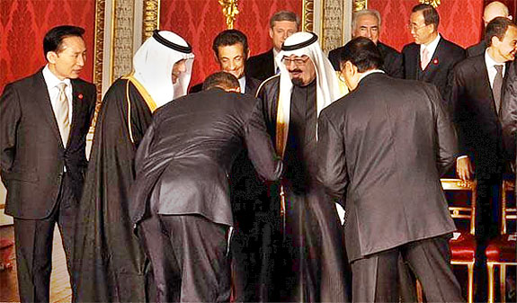 President Obama greets the King of Saudi Arabia in 2009.
