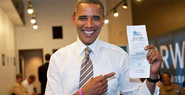 Former President Obama casts his ballot in 2012 election