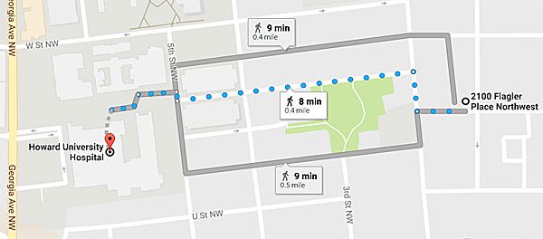 Distance from the site of the Seth Rich shooting at 2100 Flagler Place Northwest is about .4 miles, less than 10 minutes' walking distance, to Howard University Hospital (Photo: Google Maps)