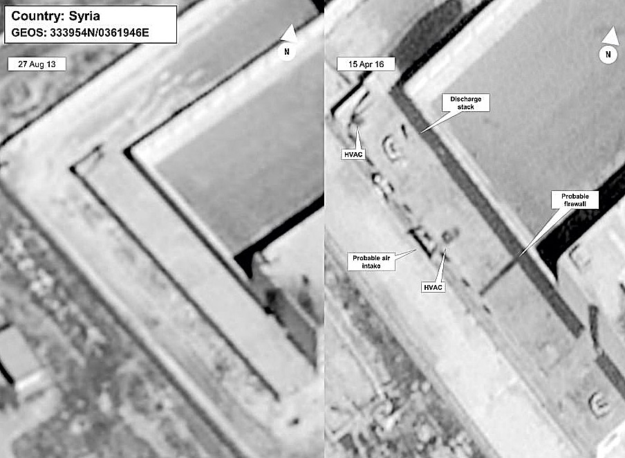 Side-by-side depiction of satellite photos taken April 27, 2013 and April 15, 2016, reveal prison modifications that are believed to be part of the crematorium where the Syrian government executes as many as 50 prisoners a day, according to the U.S. State Department