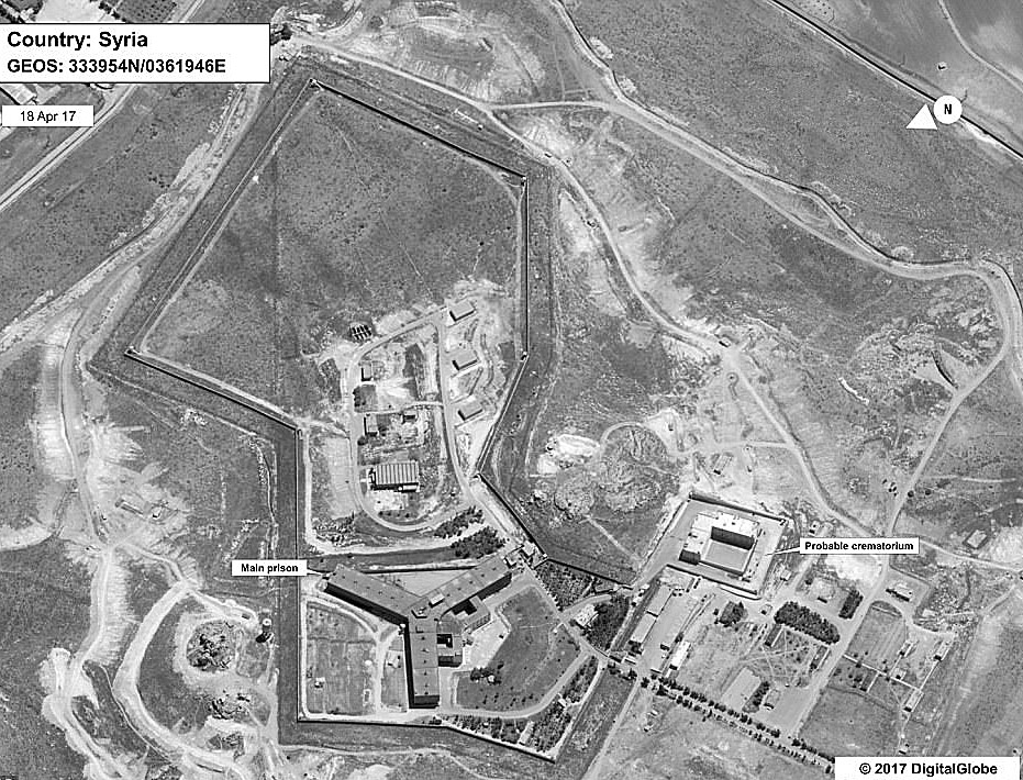 The U.S. State Department released this satellite image, taken April 18, 2017, showing the short distance between the prison (left) and the structure that is believed to house the large crematorium