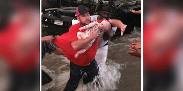 A baby is rescued from a flipped truck in Texas on May 6, 2017, by a group of strangers who cry out to God (Photo: Facebook)