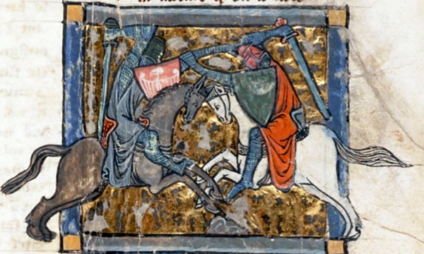 Yvain fighting Gawain. Medieval illumination from Chrétien de Troyes's romance, 'Yvain, le Chevalier au Lion'