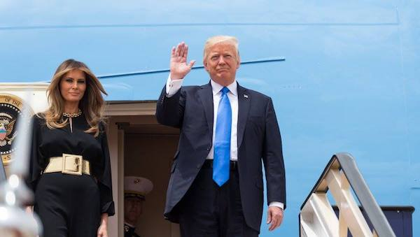 President Donald Trump waves as he and First Lady Melania Trump arrive, Saturday, May 20, 2017, to King Khalid International Airport in Riyadh, Saudi Arabia. (Official White House Photo by Shealah Craighead)