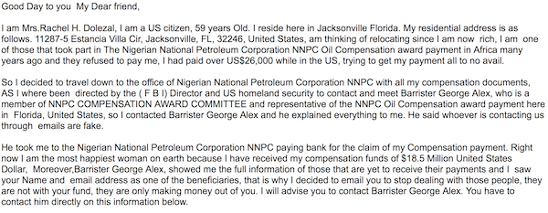 The opening of the Nigerian e-mail money scam mentioning Rachel Dolezal