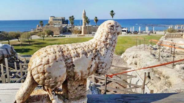 Statue of a ram that was discovered next to the vaults at the front of the temple platform. (Caesarea Development Corporation)