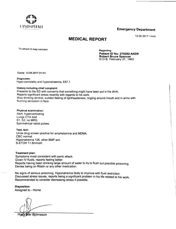 Medical report for Robert Spencer
