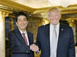 Japanese Prime Minister Shinzo Abe with President Donald Trump