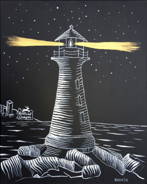 """Lighthouse"" Prophetic painting by Nathan Rhodes. Acrylic on canvas. Available as fine art print, signed by the artist"