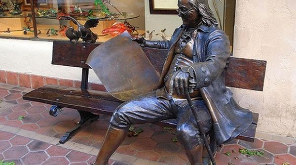 Typical white male man spreader, Ben Franklin. Evil, evil, evil!
