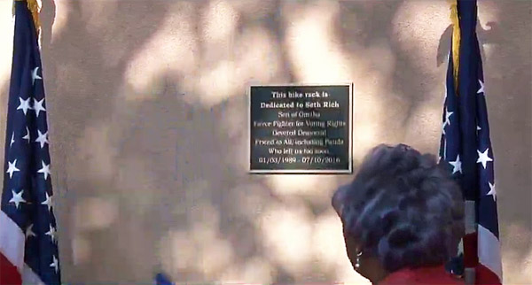 Former interim DNC Chairwoman Donna Brazile honors murdered staffer Seth Rich with a bike rack dedication at DNC headquarters