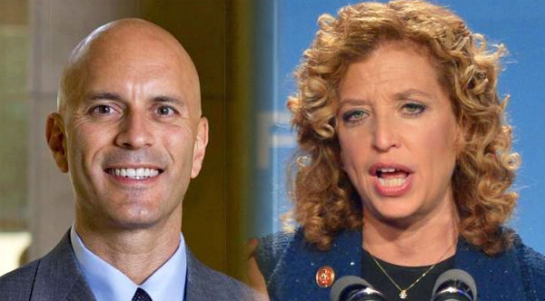 Tim Canova, left, and Debbie Wasserman Schults, right