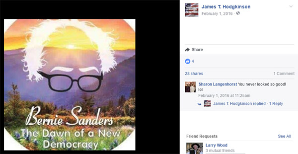 The alleged shooter, James T. Hodgkinson, made Facebook postings promoting Bernie Sanders, such as this one, which states, 'Bernie Sanders: The Dawn of a New Democracy' (Photo: Facebook)