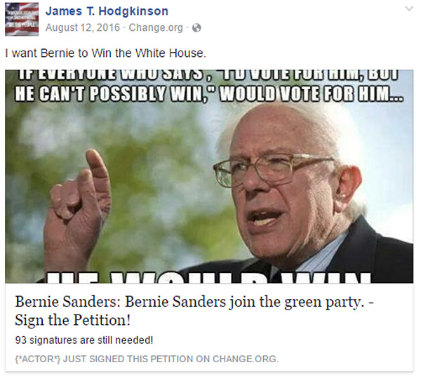 The alleged shooter, James T. Hodgkinson, made Facebook postings promoting Bernie Sanders, such as this one. He wrote, 'I want Bernie to win the White House' (Photo: Facebook)