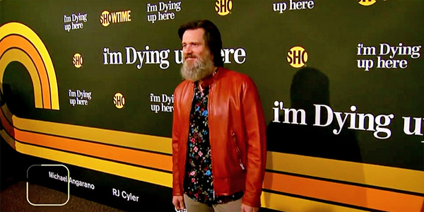 Actor and comedian Jim Carrey at the premier of the new Showtime comedy, 'I'm Dying Up Here' (Photo: Screenshot)