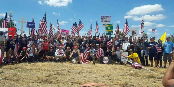 """Crowd of more than 500 reportedly showed up at a """"March Against Shariah' rally in San Bernardino, California, on June 10, 2017 (Photo: Twitter)"""