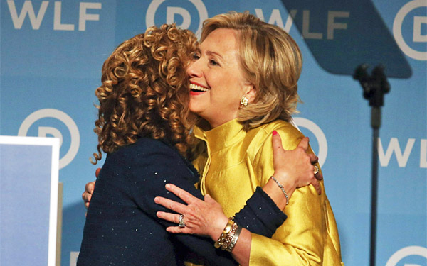 Former Democratic Party nominee for president Hillary Clinton embraces Debbie Wasserman Schultz (Photo: Twitter)