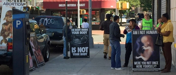 Abortion protesters from the Rock Church demonstrate outside of the Choices abortion center in Queens, New York, in 2017. [Photo from court filings]
