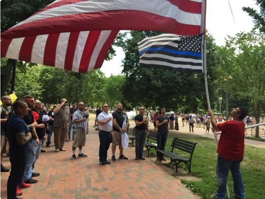 flag- rally against violence