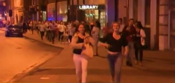 People fleeing scene of terror attack at London Bridge