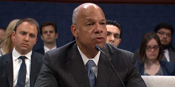 Former DHS Secretary Jeh Johnson testifies before the House Committee on Intelligence June 21, 2017.