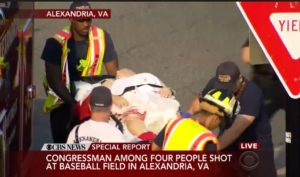 Rep. Scalise on stretcher after shooting