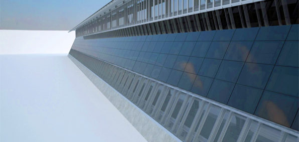 This is a solar border wall proposal by Las Vegas architecture firm Gleason Partners LLC.  It's a beautiful wall, no?