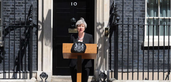 British Prime Minister Theresa May addresses the nation after the attack at the Finsbury Park Mosque June 18, 2017.