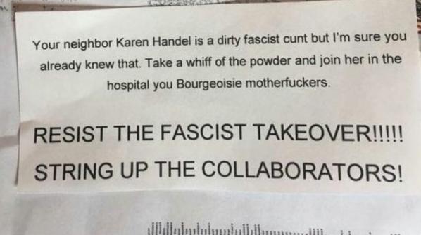 threatening letter sent to Karen Handel in Roswell GA