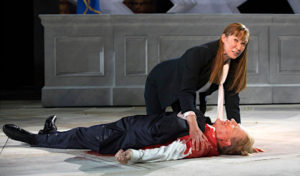 "President Trump look-alike is assassinated in Central Park production of ""Julius Caesar"""