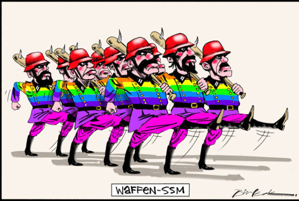 Bill Leak cartoon on his opinion of Australian gay-marriage activists