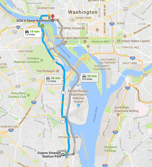 Distance between Eugene Simpson Stadium Park in Alexandria, Virginia, and Rep. Nancy Pelosi's waterfront condo in Georgetown is more than 7 miles, or a 20-minute drive