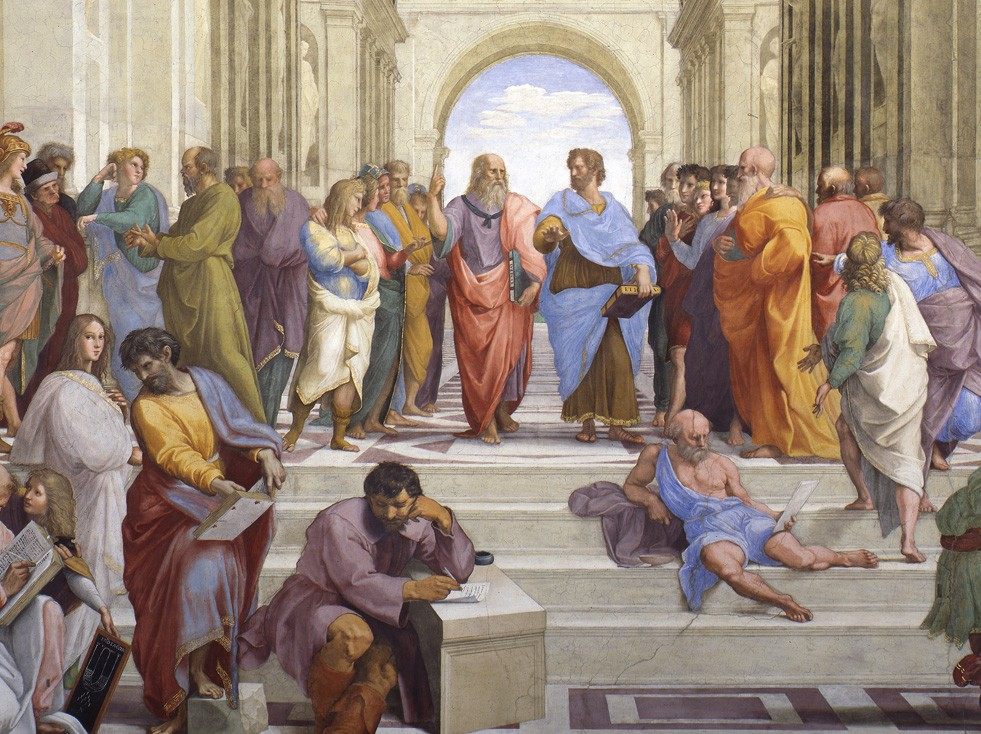 "The Vatican fresco ""School of Athens"" by Raphael depicts the great philosophers of Western Civilization, with Leonardo da Vinci as Plato in the center left, speaking to Aristotle, and Michelangelo as Heraclitus sitting, in the center foreground."