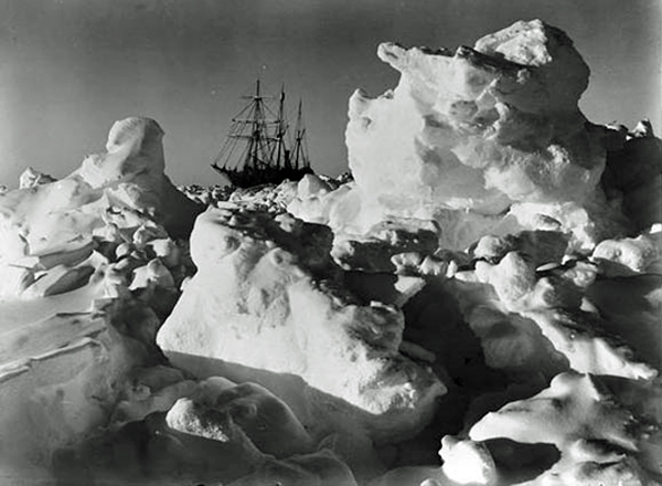 The 'Endurance' trapped in pack ice. It was named after Sir Ernest Shackleton's family motto, 'By endurance we conquer.'
