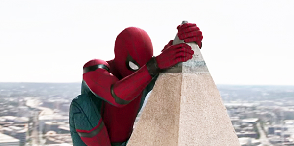 "Spiderman clings to top of Washington Monument in ""Spider-Man: Homecoming,"" 2017"