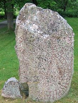 Swedish runestone circa 1050 in commemoration for receiving danegold. What monuments will be raised for modern-day extortion?