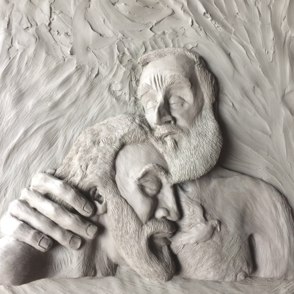 """His Affectionate Embrace"" by Michael McGrath – prophetic art in clay"