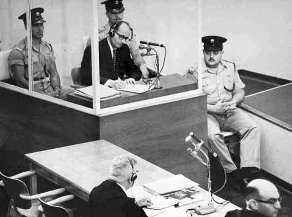 Adolph Eichmann at trial in Jerusalem after Mossad capture
