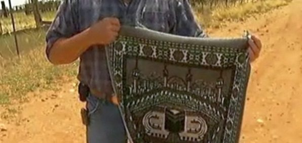 Discarded prayer rug found by Border Patrol on U.S. side
