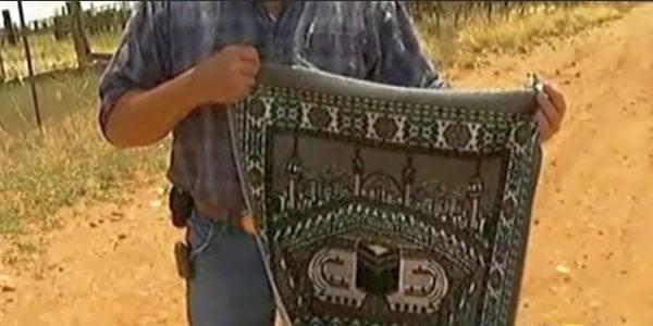 Discarded prayer rug found by Border Patrol on U.S. side
