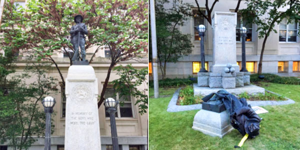 In Durham, North Carolina, an assembly of communist and socialist groups descended on a statue to Confederate war dead, attached ropes to the bronze figure, and tore the monument down (Photo: Twitter)