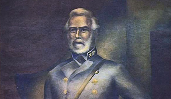 A portrait of Robert E. Lee wearing his gray uniform displayed at the Lee County Commissioners chambers in Fort Meyers, Florida