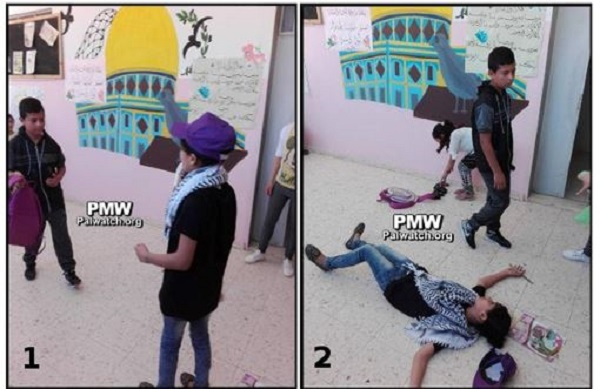 "A Palestinian ""terrorist,"" (the girl) meets her demise at the hands of an ""Israeli"" in these summer camp images from PMW"