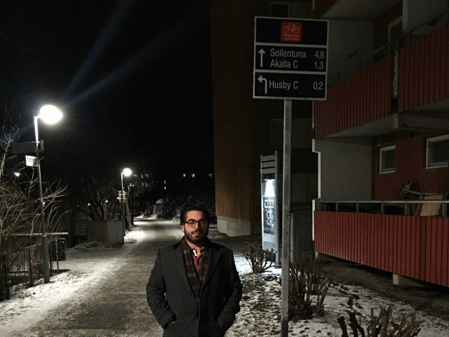 Raheem Kassam in the Rosengard area of Malmo, Sweden, a 'no-go zone' he visited in February 2017