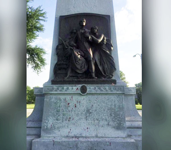 Red paint is seen on a vandalized Confederate Memorial in Forest Park in St. Louis, Missouri in this photo from St. Louis' Mayor's office released on June 24, 2015
